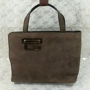 Authentic Gucci Brown Suede Leather Trim Bag